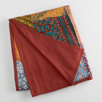Kantha Sari Patchwork Throw